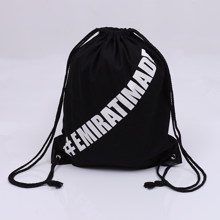 Black cotton canvas drawstring bag