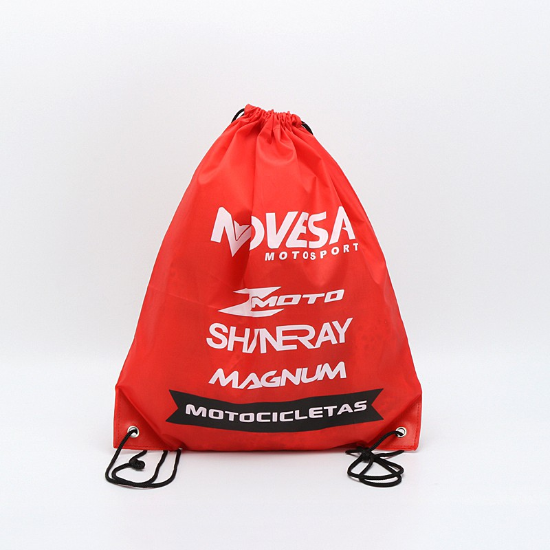 Red color custom logo non woven drawstring bag