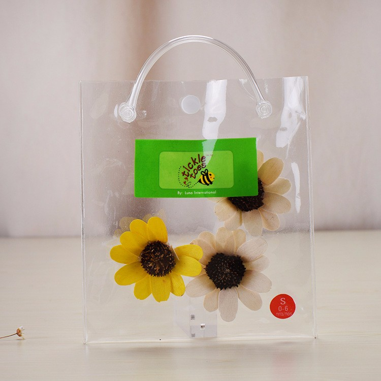Promotional custom design clear pvc gift handle bag