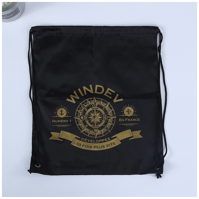 Black gold imprint drawstring backpack